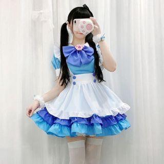 Costume   Apron   Party   White   Light   Dress   Maid   Dark   Blue   Size   Bow   One   Set