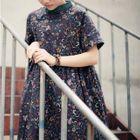 Floral Print Short Sleeve Mandarin Collar Midi Dress 1596