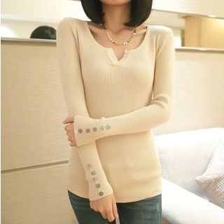 Notch Neck Rib Knit Top 1057037232
