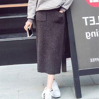 Ribbed Knit Midi Skirt 1062302237