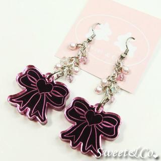 Swarovski   Crystal   Earring   Mirror   Pink