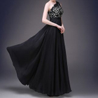 One-shoulder Lace Panel A-line Evening Gown 1596