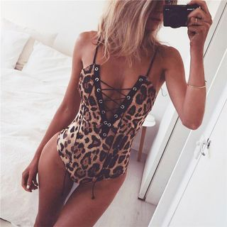 Spaghetti-Strap Lace-Up Leopard Bodysuit