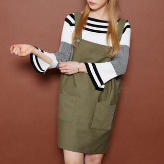 Slit-Sleeve Striped Knit Top 1052933397