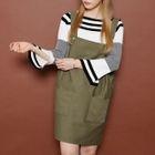 Slit-Sleeve Striped Knit Top 1596