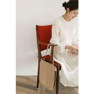 Gathered-Waist Lace-Trim Peasant Dress 1065372456