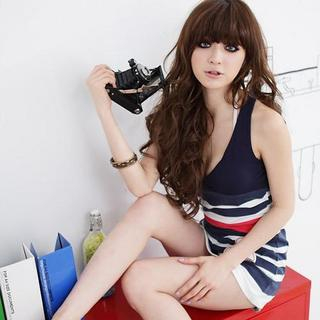 Picture of D.P-Shop V-Neck Stripe Tank Top / Dress Blue - One Size 1022998551 (D.P-Shop Dresses, Womens Dresses, Taiwan Dresses)