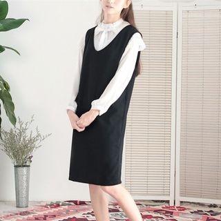 Plain Midi Pinafore Dress 1053393521