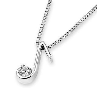 18K White Gold Music Note Design Diamond Solitaire Pendant Necklace (0.14cttw) (FREE 925 Silver Box Chain)