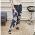 Distressed Cropped Straight Leg Jeans от YesStyle.com INT