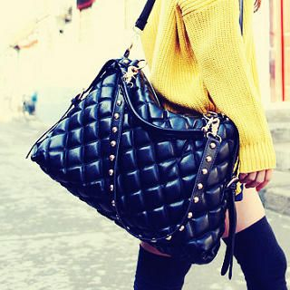 Quilted Studded-Strap Satchel