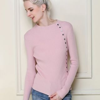 Buttoned Ribbed Knit Top 1055701644