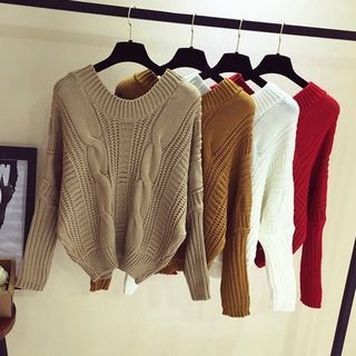 Ribbed Long-Sleeve Knit Sweater 1062523277