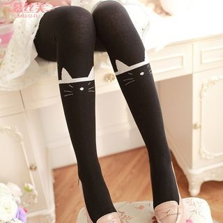 Cat Ribbed Tights 1053924482