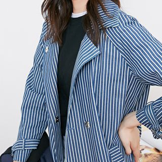 Image For Striped Snap-Button Trench Coat