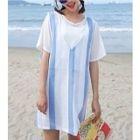 Set: Short Sleeve Chiffon Tunic + Striped Pinafore Dress 1596