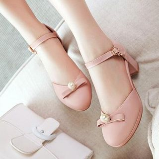 Image of Beaded Bow Chunky Heel Sandals