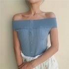 Buttoned Ribbed Off-Shoulder Top 1596