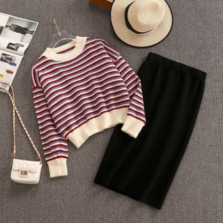 Set: Striped Sweater + Midi Pencil Skirt Off-white & Red & Blue - One Size