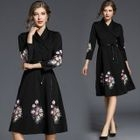 Floral Embroidered 3/4-Sleeve A-Line Dress 1596