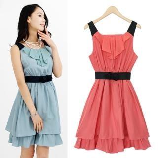 Buy Black Queen Set: Sleeveless Shirred Dress + Belt 1022925354