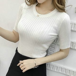 Ribbed Short-Sleeve Knit Top 1058182592