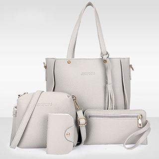 Set of 4: Faux Leather Tote + Crossbody Bag + Clutch + Card Holder 1061977615