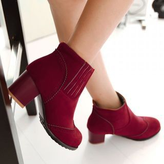 Image of Chunky-Heel Round-Toe Ankle Boots