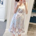 Set: Floral Print Sleeveless Dress + Mesh Sleeveless Dress 1596