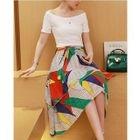 Set: Short Sleeve Boat Neck T-Shirt + Print Layered A-Line Skirt 1596