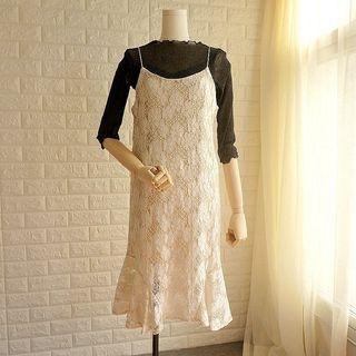 Spaghetti Strap Sheath Lace Dress 1058602363