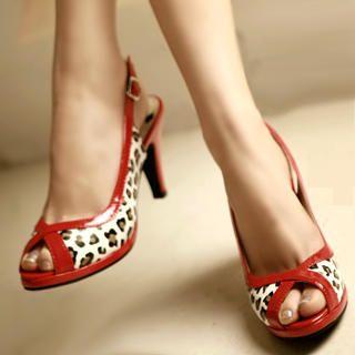 Buy Kvoll Leopard Print Slingback Kitten-Heels 1022654425