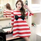 Bow-Accent Striped A-Line Dress 1596