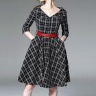 Plaid 3/4-Sleeve A-Line Dress 1596