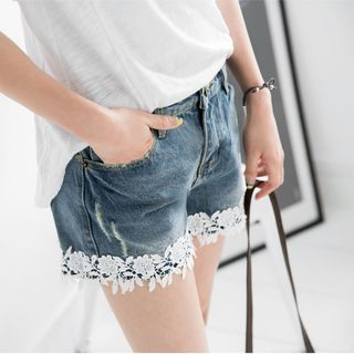 Lace Trim Denim Shorts 1052806309
