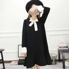 Bow Accent Ruffle Hem Long-Sleeve Knit Dress 1596