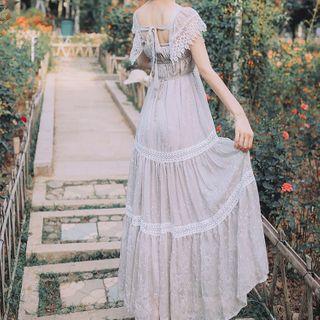 Short-sleeve   Strapless   Wireless   Dress   Lace
