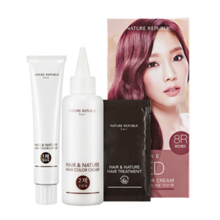 Nature Republic - Hair & Nature Hair Color Cream (#8R Wine Red): Hairdye 60g + Oxidizing Agent 60g + Hair Treatment 9g 3pcs 1050316773