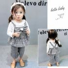 Kids Set: Ruffle Trim Long-Sleeve Top + Plaid Sleeveless Top + Pants 1596