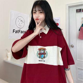 Image of 3/4-Sleeve Print Polo Shirt