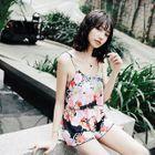 Set: Floral Print Tankini Top + Swim Shorts 1596