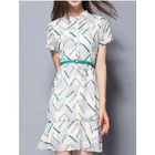 Ruffle Hem Band Collar Short Sleeve Dress 1596