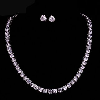Image of Set: Rhinestone Necklace + Earring Set - 1 Pair - Stud Earrings & Necklace - Zircon - White - One Size