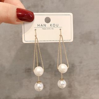 Image of Faux Pearl Dangle Earring 1 Pair - E1696 - Gold - One Size