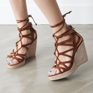 Buy HARU Lace-Up Wedge Sandals 1023052183