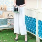 Wide-Leg Cropped Chiffon Pants 1596