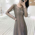 V-Neck Sweater / Long-Sleeve Sheer A-Line Midi Dress 1596