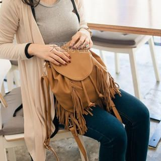 Drawstring Fringed Bucket Bag