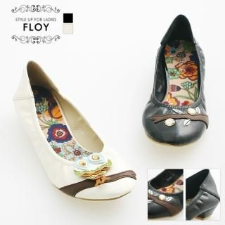 Picture of FLOY SHOES Appliqu -Detail Elastic Flats 1023054717 (Flat Shoes, FLOY SHOES Shoes, Korea Shoes, Womens Shoes, Womens Flat Shoes)