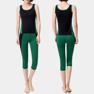 Set: Contrast Trim Tank Top + Cropped Yoga Pants 1056477289